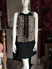 Maje Silk Leopard Shift Dress With Black Oversized Bow - Size 3  Medium
