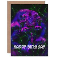 Happy Birthday Gothic Purple Neon Blank Greeting Card With Envelope