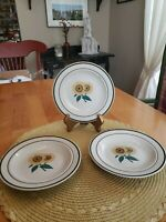 """Stoneware Sunflowers 6.5"""" Bread and Butter Plates Set of 3"""
