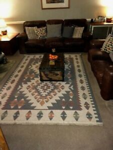 TURKISH KILIM AREA RUG  Dunelm - 70% Wool - 3 Mths Old - Neutral Tones 63 x 91""