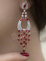 4.02CT NATURAL ROUND DIAMOND 14K SOLID YELLOW GOLD RUBY WEDDING DANGLER EARRING