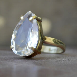 Pear Faceted White Quartz 14K Yellow Gold Silver Men's Ring Size 10