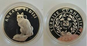 2005 Turkey Large Silver Proof 20 y.lira Cat-colored eyes