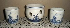 Lot Of 3 Older Signed Delft Holland Collectible Pottery Bowl Cups Candle Holder