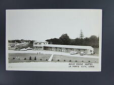 La Porte City Iowa Ia Real Photo Postcard RPPC Rock Wood Motel Cars c.1950