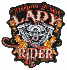 FREEDOM to RIDE LADY RIDER biker PATCH P4000 motorcycle ladies BIKERS PATCHES