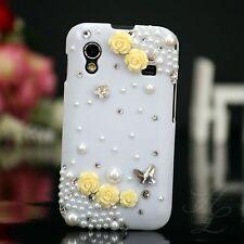 Samsung Galaxy ACE S5830 Hard Case Handy Schutz Hülle Etui Perlen Weiß Gelb 3D