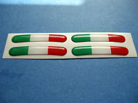 SET 0F 4 DOMED ITALIAN FLAG WHEEL RIM STICKERS v003