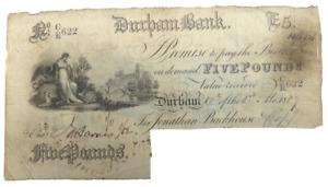 1887 Durham Bank £5 Five Pound Banknote C/R