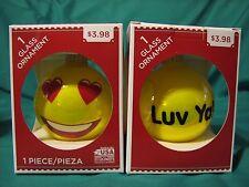"""0Ne Valentine Emoji Glass Ornament """" Luv Ya !"""" With Heart Eyes New"""