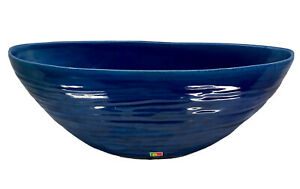 Pier 1 Large Ceramic Console Bowl Blue Teal Textured Oval Beautiful Portugal GUC