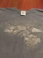 Harley Davidson Bald Eagle Decatur Illinois Mens Double Sided T Shirt Large L