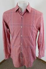 Men's BANANA REPUBLIC Tailored Slim Fit L/S Shirt Red Plaid Size Medium!