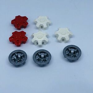 Playmobil Red White Silver Vehicle Hub Caps Wheel Trims Spare Replacement Parts
