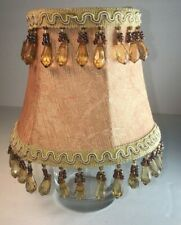Mini Lamp Shade With Beads Clip On Peach Fabric Ivory Trim 2 Rows Beads
