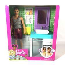 Barbie Bathroom Themed with Shaving Ken Doll and Sink,Vanity,Mirror Play Set NEW