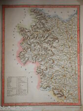 Carta colorata a mano del West Yorkshire-c1840-Inc Leeds, Wakefield, Wetherby etc