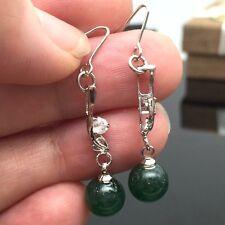 Pretty Round  Jade Beads Zircon Long Earrings 18K Gold Plated Hook Earring Women