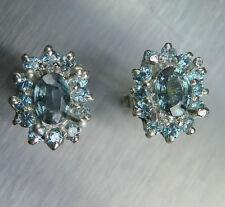 1.25cts NATUREL ARGENT bleu Saphirs & Zircon Sterling 925 boucles d'oreilles