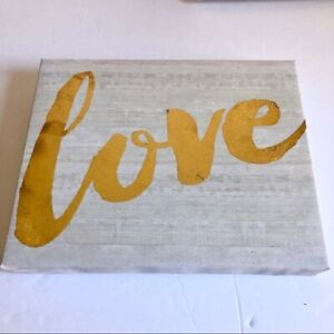 "Love Wall Canvas Sign 8""x10"" White Gold Lettering Cursive Font NEW"