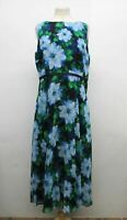 HOBBS Ladies Carly Blue Floral Print Sleeveless Crew Neck Shift Dress UK16 NEW