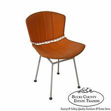 Knoll Vintage Bertoia White Wire Side Chair w/ Orange Cushion