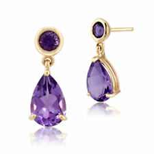 Drop/Dangle Natural Amethyst Fine Earrings