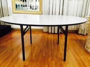 LOT OF 5 - 60'' Round Wood Folding banquet table