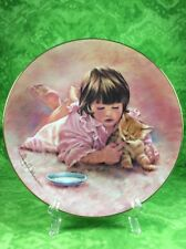 Hamilton Collection Magic Of Childhood 2nd Feeding Time Girl Child Kitten Cat