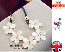Fashion Beige Flower Choker Bib Statement Collar Necklace Chain Pendant - UK