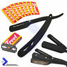 Black Cut-Out Straight Edge Barber Razor Folding Shaving Pocket Knife + Blades