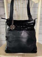 BRIGHTON Black Croc Embossed Patent Leather Crossbody Travel Evening Bag Purse