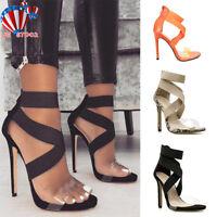 Women High Heels Open Peep Toe Clear Sandals Ankle Strap Sandals Pumps Shoes US