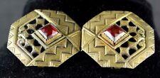 Ruby 2 Piece Sash Buckle Z14 Art Deco/Art Nouveau German Brass & Faux