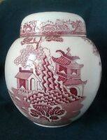 MASONS WILLOW PATTERN GINGER JAR IRONSTONE GINGER JAR MADE FOR TWININGS IN PINK