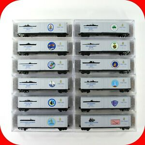 N Scale USS NAVY SERIES Military 50' Box COMPLETE 12-Car Set -- MICRO TRAINS MTL