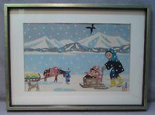 Rare Hiroshi Nishihara Japanese Sosaku-hanga Woodblock Print - People Sleds Snow