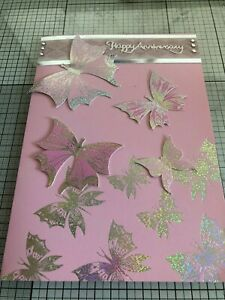 ANNIVERSARY CARD, HANDMADE GOLD EMBOSSED RED POPPIES OR SILVER BUTTERFLIES