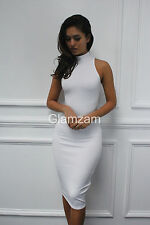 Womens Ladies Glam Polo Neck Sleeveless Knee Length Bodycon Cocktail Dress UK 14 White