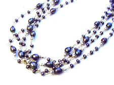Large Fancy 4 Strand 925 Sterling Silver Peacock Pearl Necklace F71