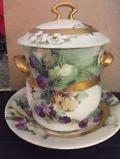 Antique Princess Louise Austria Porcelain 3Pc Condensed Milk Container Blackberr