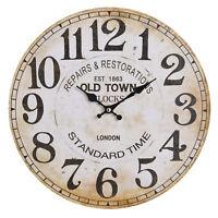 Clayre&Eef Vintage Wanduhr  Uhr Mdf Shabby Vintage Landhaus Old Town 34cm deko