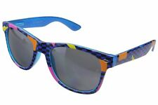 Totally 80's Retro Rad Horn Rim Sunglasses Party Novelty Vice Theme Blue Gray