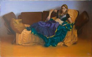 Original Unframed Oil Painting Female dancer Girl dance costume artwork woman