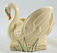 Vintage McCOY Art Pottery Swan Planter Cream Glaze w/Cold Paint