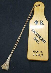 Phi Kappa 1952 Sweetheart Ball Paddle Omega Chapter Phi Kappa Theta