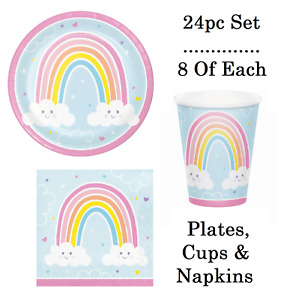 24pc Party Tableware Set Happy Rainbow Plate Cup Napkin Birthday Decoration Gift