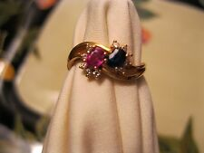 Genuine Oval Ruby Sapphire Diamond Ring 18K Solid Yellow Gold SZ 6-6.25