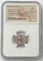 Tiberius AD 14-37 Silver Drachm NGC AU Biblical Tribute Penny Rare Denomination