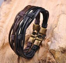 2pcs Bronze Clasp Hemp Leather Braid Mens Wristband Bracelet Cuff Black & Brown